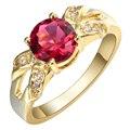 2017 Moda anel de ouro red cz zircon moda Anéis de jóias por atacado 24 K Banhado A Ouro Pequeno Cantor mulheres anéis de casamento