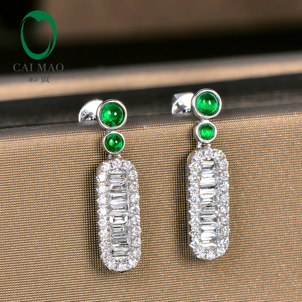 Caimao Exquisite Jewelry Natural Cabochon Cut Emerald Baguette Cut Diamond 14kt White Gold Drop Earrings