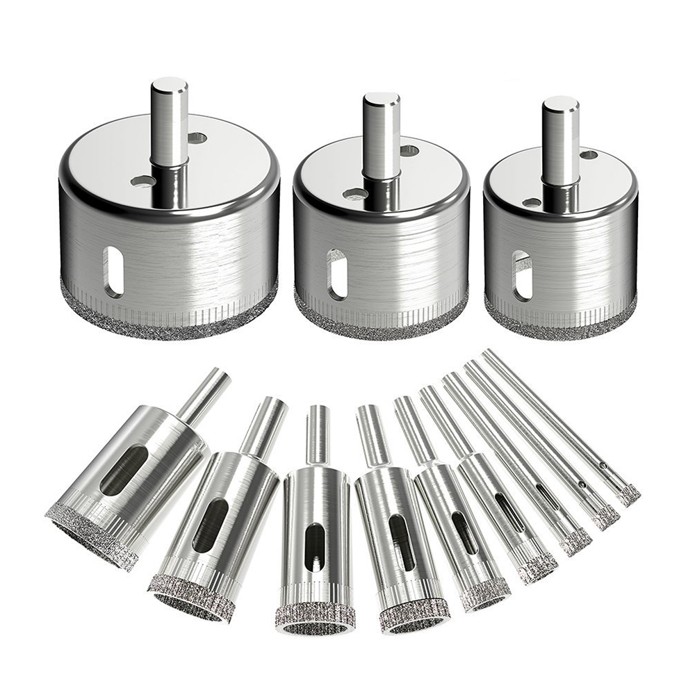 12Pcs Diamond Drill Bits Glass Tile Hole Saw Bits Set, Hollow Core Drill Bits, Extractor Remover Hole Saws12Pcs Diamond Drill Bits Glass Tile Hole Saw Bits Set, Hollow Core Drill Bits, Extractor Remover Hole Saws
