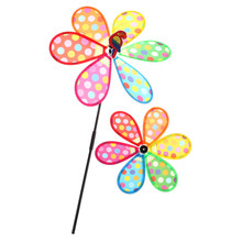 36CM Wind Spinner Whirligig Garden Windmill for Children Gift Multicolor Dots Windmill Children Kids Toys(China)