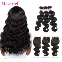 Mesariel Body Wave Bundles With Closure Peruvian Hair 2 3 4 Bundles With Closure Remy Human Hair Extension Bundles With Closure(China)