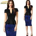 2016 New Arrival V-Neck Office Dress Cascading Ruffle Short Sleeve Plus Size XXL Ladies Pencil Dresses Office Suit Work Dress