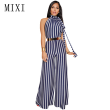 MIXI Sexy Backless Halter Striped Jumpsuit Summer Casual Sleeveless Loose Wide Leg Elegant Women Overalls Long Playsuit