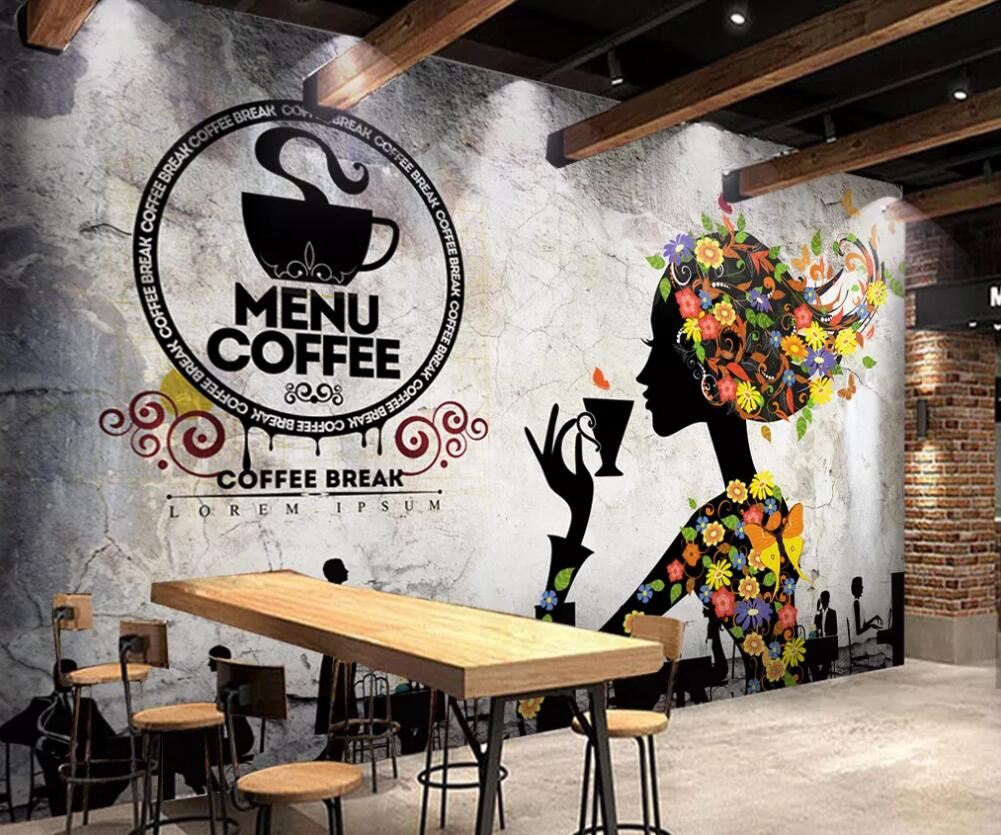 Customized Large Scale 3d Mural Wallpaper Nostalgic Coffee Shop Milk Tea Shop Background Wall Decoration Painting Fabric Textile Wallcoverings Aliexpress