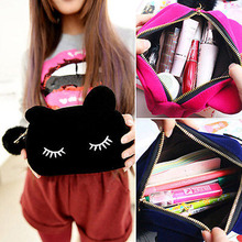 Portable Cartoon Cat Cosmetic Bag Lady Purse Coin Storage Case Travel Makeup Flannel Pouch Cosmetic Bag