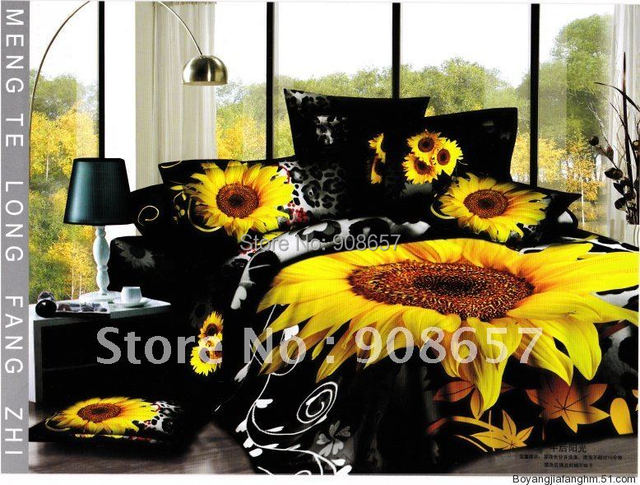 3d bedding set yellow black sunflower print bed linens full queen size quilt duvet covers for adult home textile sexy leopard