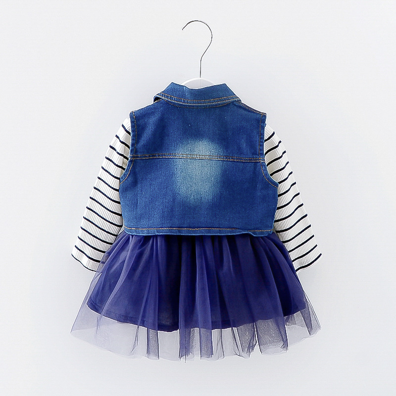 baby girl dresses suit full sleeve spring Autumn Princess cotton dress + denim vest Kids Clothes for girl 5T Clearance sale