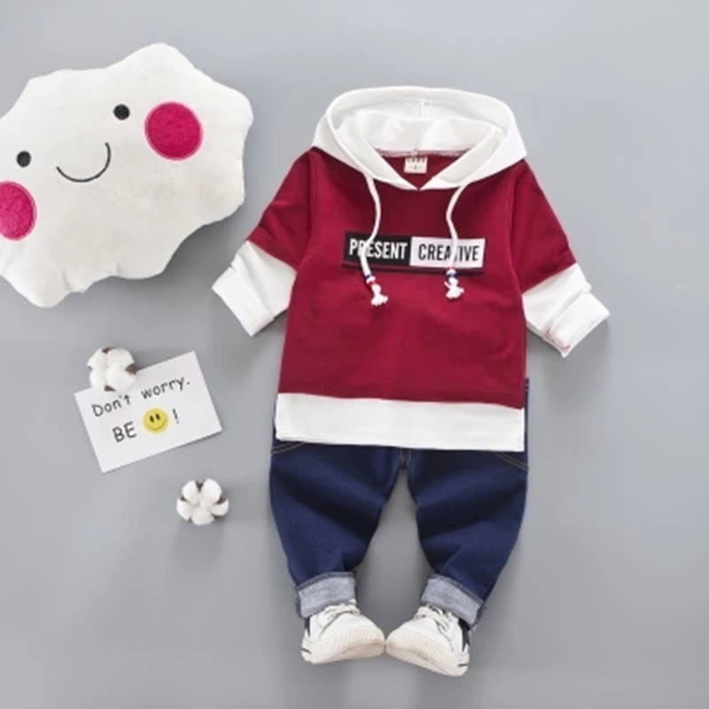 2 Pcs Suits Kids Hooded Tshirt+Jean Pants Tracksuit Spring Autumn Baby Clothing Sets Children Boys&Girls Fashion Clothes B0325