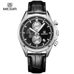 Image 1 - Megir 새로운 패션 군사 가죽 쿼츠 시계 남자 럭셔리 빛나는 크로노 그래프 아날로그 시계 남자 손목 시계 무료 배송 5005