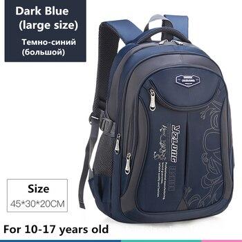 2020 hot new children school bags for teenagers boys girls big capacity school backpack waterproof satchel kids book bag mochila - Large-Dark blue