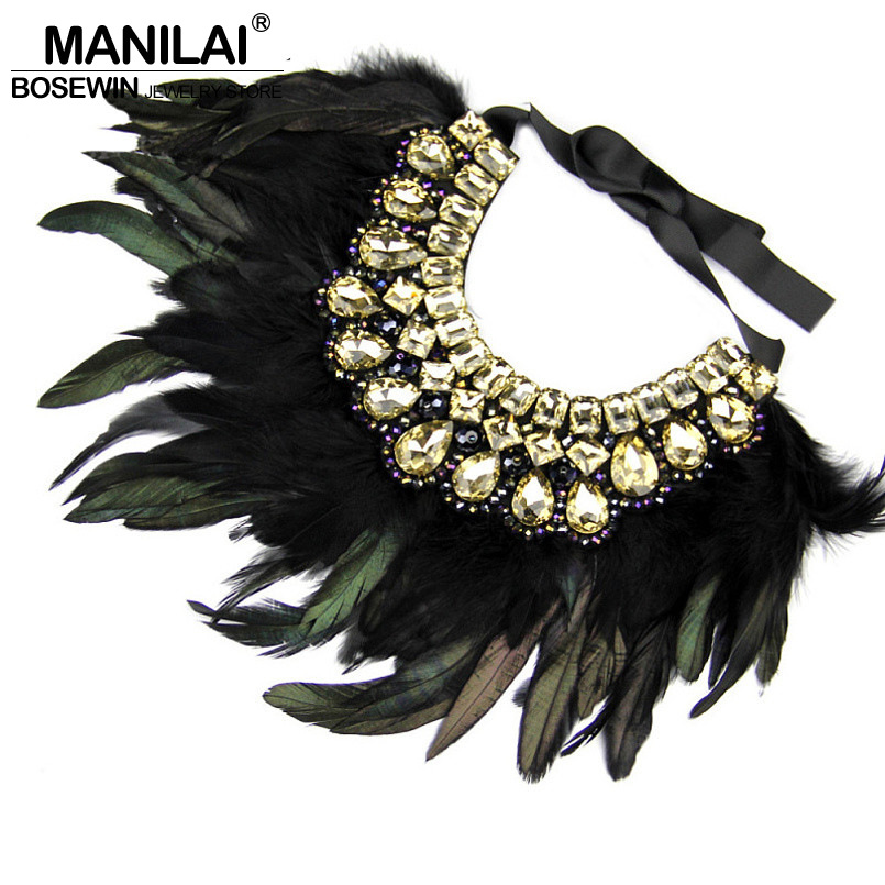 MANILAI Indian Maxi Jewelry Exaggerate Black Feather Statement Crystal Collar Necklaces & Pendants Fashion Chokers Necklaces plus size funnel collar maxi asymmetric hoodie