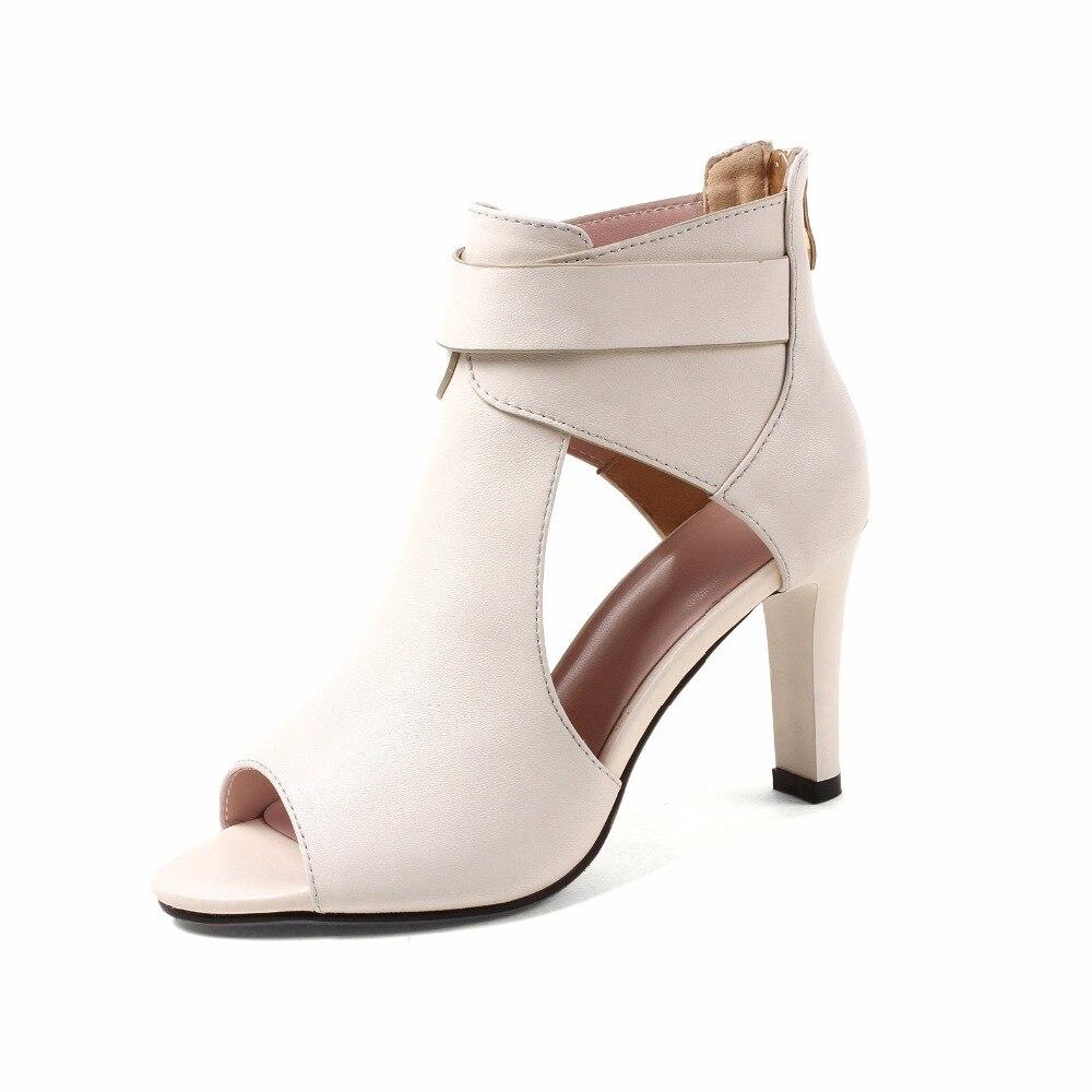 Femme Furtado Haute 2018 Chaussures Sandales D'été Véritable Cm White 9 black Blanc Pour Mode Peep Gladiateur Toe Dames Arden Zippée En Talons Cuir dtHqCtw