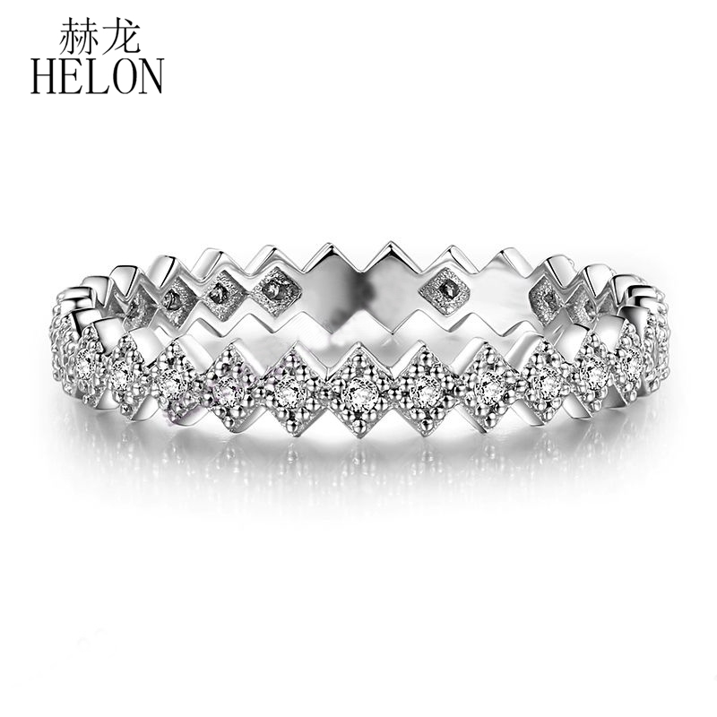 HELON Solid 10K White Gold Pave Natural SI/H Diamonds Ring Engagement Wedding Diamonds Halo Band Ring Fine Jewelry Women's Ring письменный стол первый мебельный стол письменный паскаль
