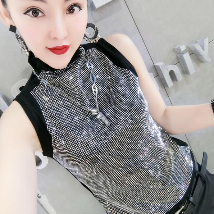 2019 women fashion heavy industry hot drilling TURTLENECK slim sleeveless vest shirt tops plus size 3XL