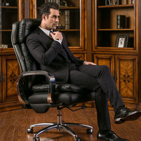 High Quality Boss Chair Genuine Leather Computer Chair Home Office Chair Lying Massage Lifting Rotating Seat