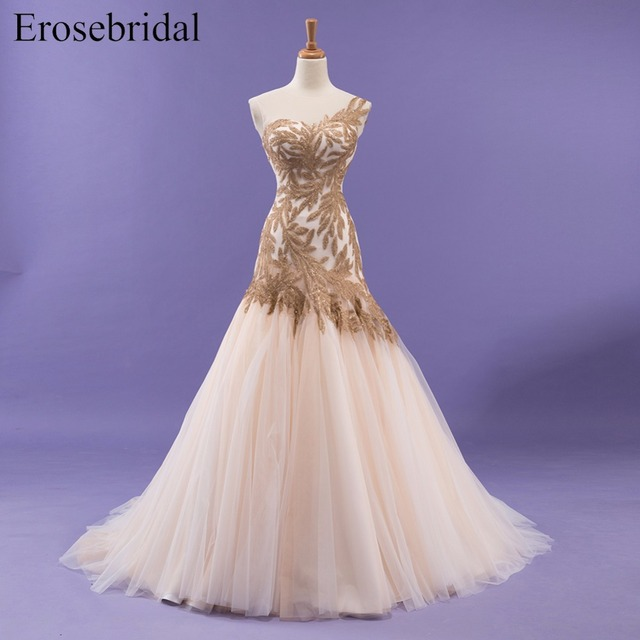 Mermaid Wedding Dress With Golden Sequin Sweetheart Lace Up Back