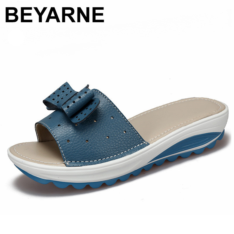 BEYARNE New Womens Sandals Cow Leather Women Flats Shoes Platform Wedges Female Slides Beach Flip Flops Summer Shoe Lady 35-42