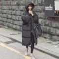 Черный Плюс Размер Корея Мода Женский Пиджаки Толстые Теплые Куртка негабаритных Мех Утка Вниз Зимнее Пальто Женщин Ретро С Капюшоном MZ1072