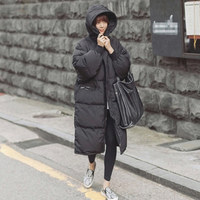 Black Plus Size Korea Fashion Female Outwear Thick Warm Parka Oversize Fur Duck Down Winter Coat Women Retro With Hood MZ1072