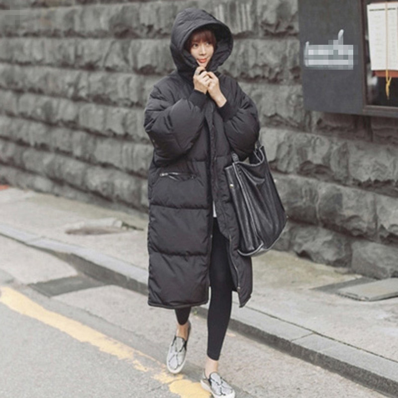 Black Plus Size Korea Fashion Female Outwear Thick Warm   Parka   Oversize Fur Duck Down Winter Coat Women Retro With Hood MZ1072
