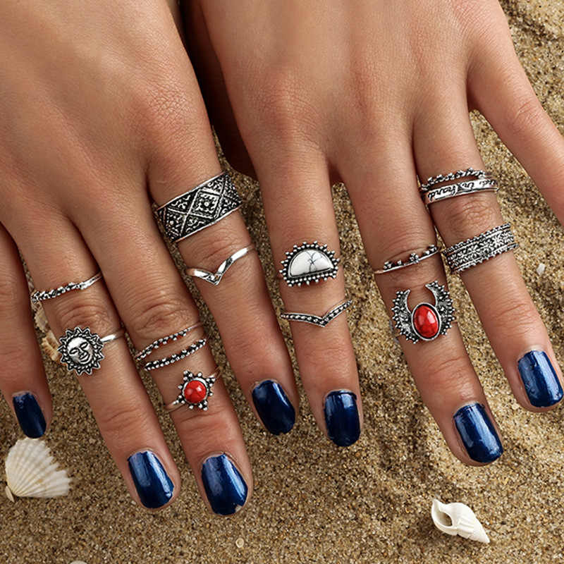 Vintage Midi Finger Rings Set Fashion Silver Color Deer Knuckle Rings for Women Black Stone Beach Jewelry