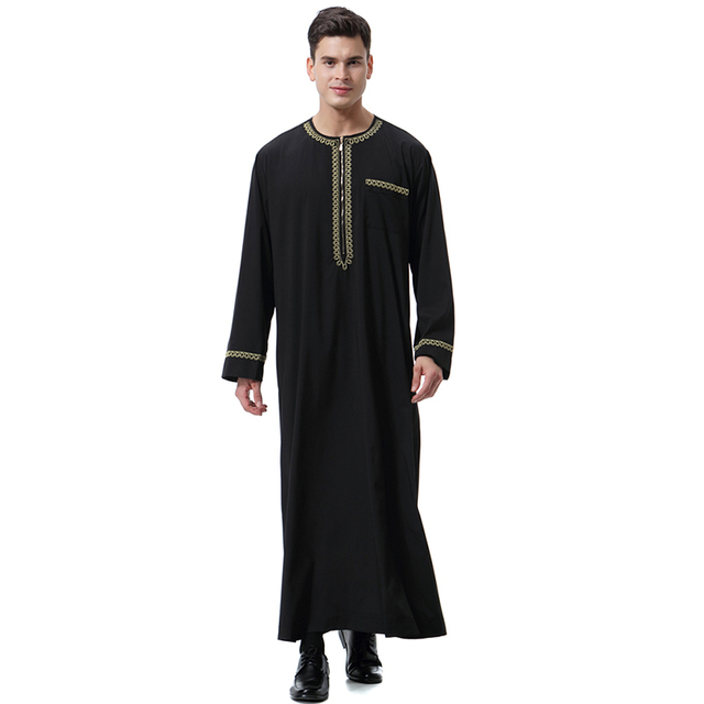 Babalet Muslim Men s Tunic Arab Print Zipper Round Neck Robe Long Sleeve  Islamic Saudi Arabian Kaftan Dubai Loose Slim Fit 2e4b9921c912