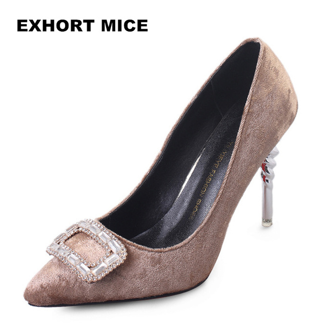 Women Shoes High Heel Sexy Shallow Pointed Toe Flock Designer Shoes Women  Luxury 2018 Women Pumps Square buckle 10 cm 68063586c