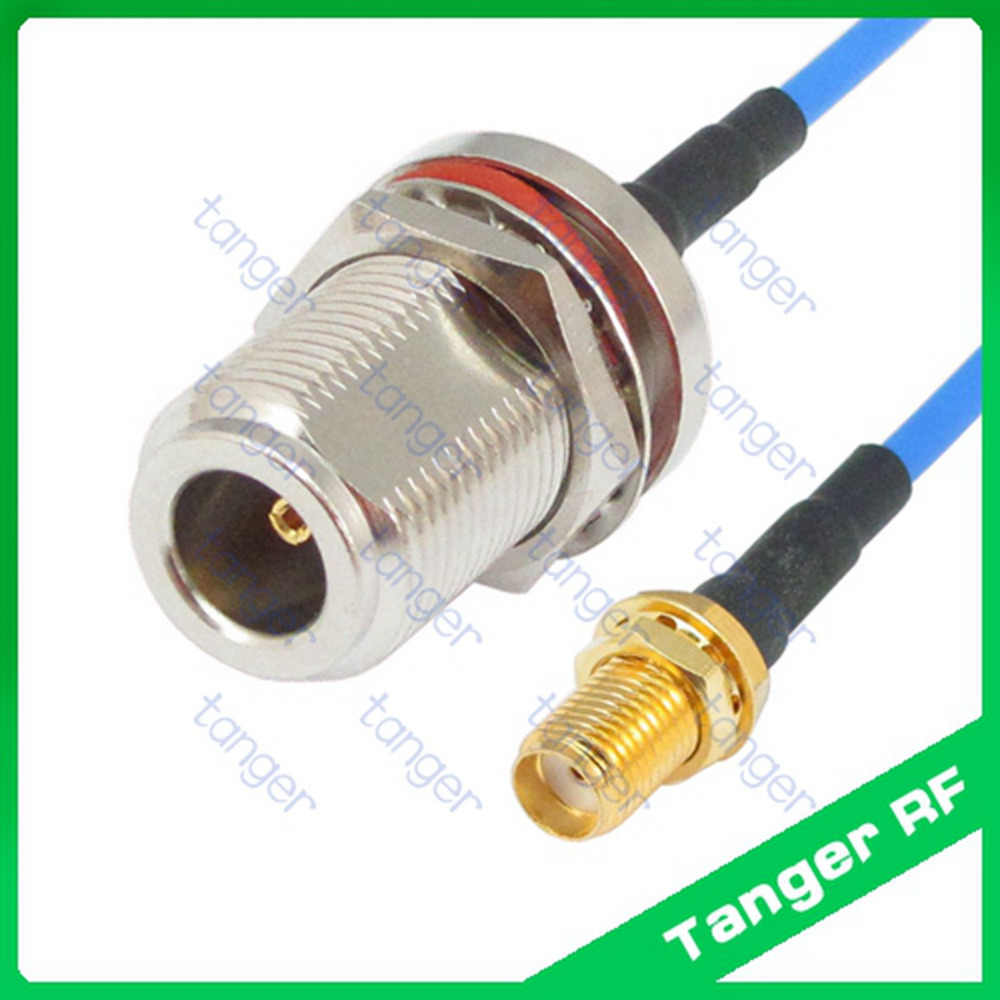 SMA female to N female jack waterproof with nut RG405 RG086 Blue RF Coaxial Jumper Semi Flexible cable 20in 50cm Low Loss Coax high quality low attenuation n female switch rp tnc female jack rf coax cable rg142 50cm 20 low loss