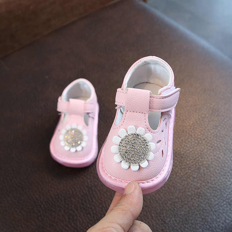 Infant Leather Shoes Baby Toddler Shoes Soft Soled Spring And Autumn 0-1 Years Princess Shoes Flowers Rhinestone