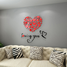 Hotsale DIY Art 3D Acrylic Love Heart Wall Sticker Bedroom Living Room wedding decoration wall stickers muraux wallpaper Y3