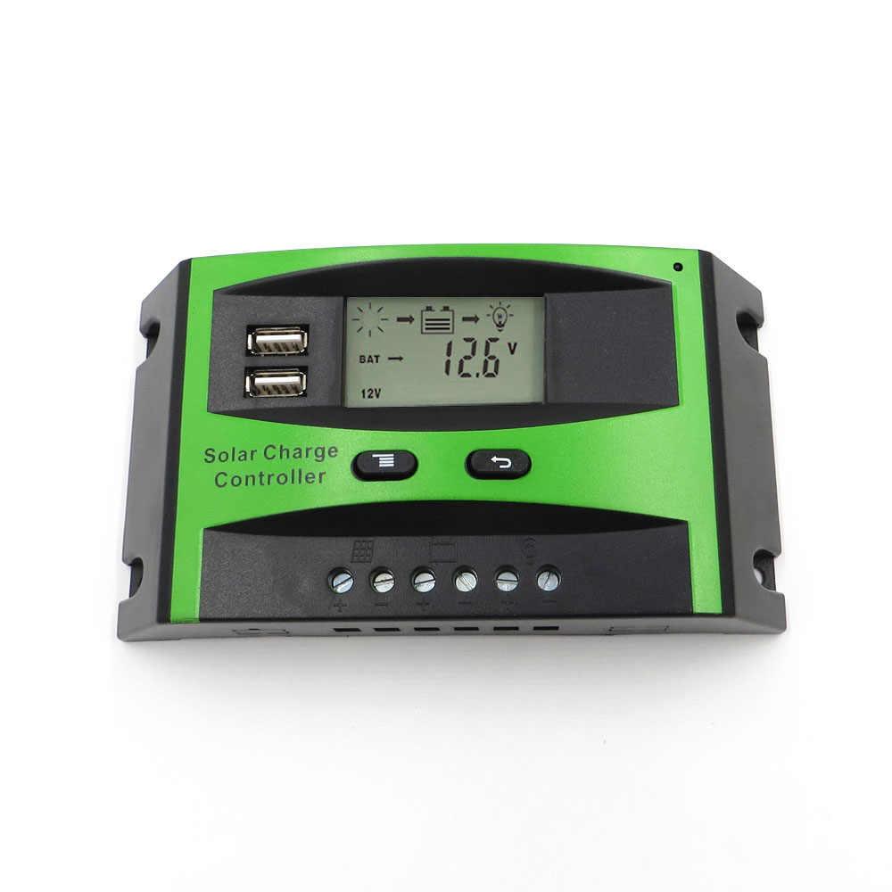 جهاز تحكم يعمل بالطاقة الشمسية 12 V 24 V 60/50/40/30/20/10A السيارات ألواح خلايا شمسية منظم شاشة الكريستال السائل USB 5 V المحمول شاحن بطارية هاتف محمول