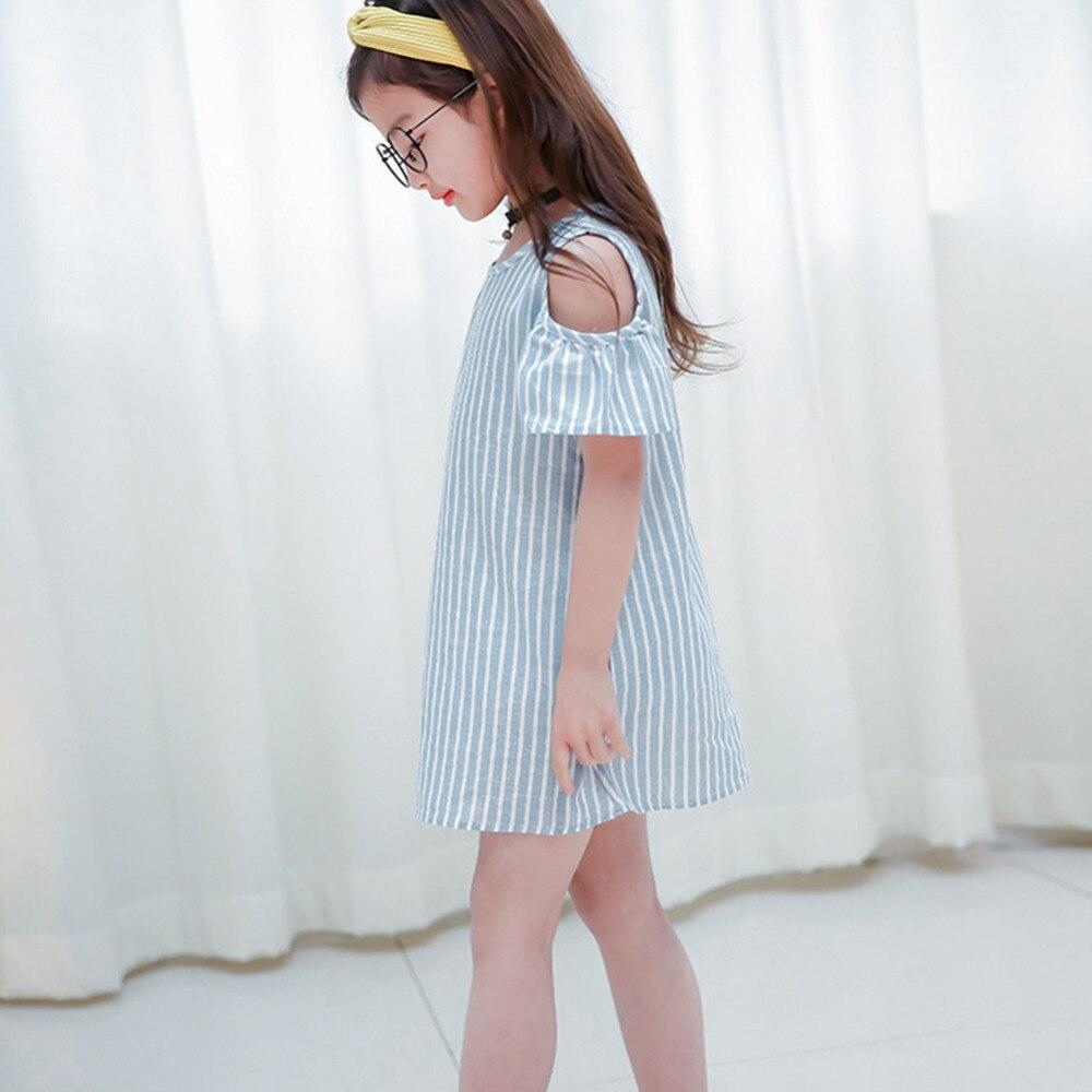 HTB1ywlBXQ9E3KVjSZFGq6A19XXat Summer Girls Tassel Flying Sleeve Dresses Stripe Cute Kids Party for girls Princess Dress Tops Clothes