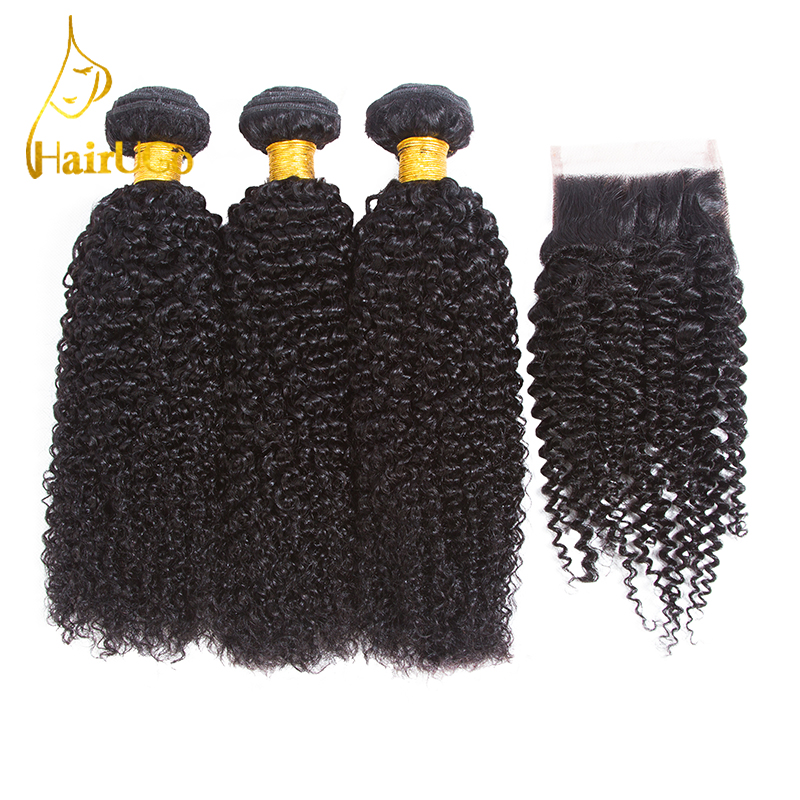 HairUGo Hair Pre-colored Indian Kinky Curly Wave Hair 3 Bundles With Closure Human Hair  ...