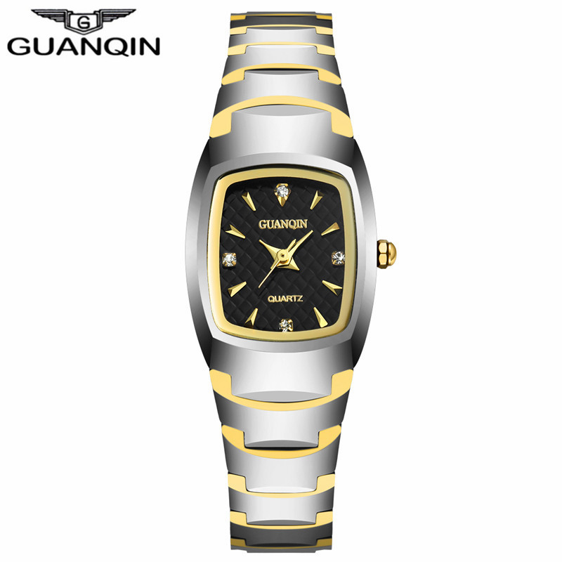 ФОТО GUANQIN GQ30005 Fashion Women Watches with Tungsten Bracelet Female Quartz Watches Women Waterproof Clock with Rhinestone Dial