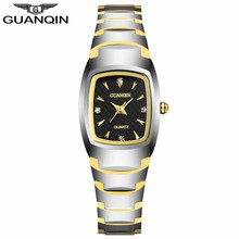 GUANQIN GQ30005 Style Girls Watches with Tungsten Bracelet Feminine Quartz Watches Girls Waterproof Clock with Rhinestone Dial