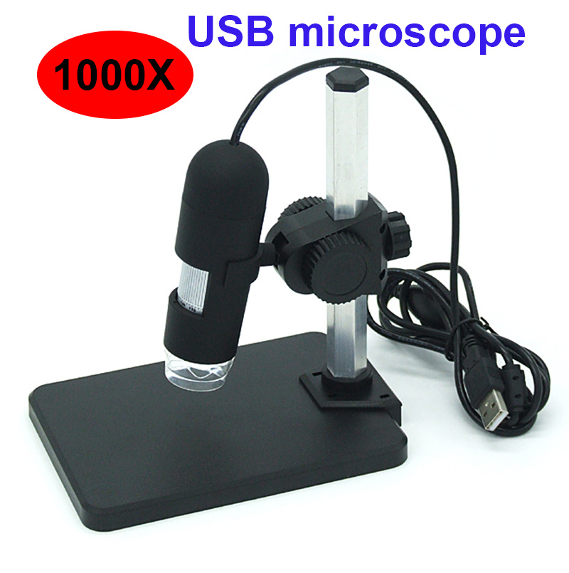 Digital 1000X USB microscope HD video microscope magnifier with 8 LED lights Aluminum Alloy Stent microscope Video Camera arrival 2 0m pixels usb hand held microscope with 8 led lights se v3 usb500 300