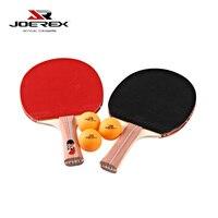 Joerex 2ピース長いハンドル&ショートハンドル卓球ラケット(ピンポンパドル)セット初心