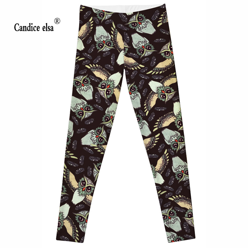 CANDICE ELSA leggings women elastic sexy fitness legging owl printed workout female pants plus size wholesale drop shipping