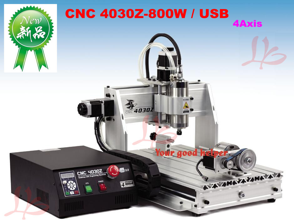 New 4030Z-800W/USB 4axis CNC router with USB port and rotation axis to Russia free tax no tax to russia factory new 4 axis cnc cutting machine with limit switch usb port 800w cnc router 3040 z usb