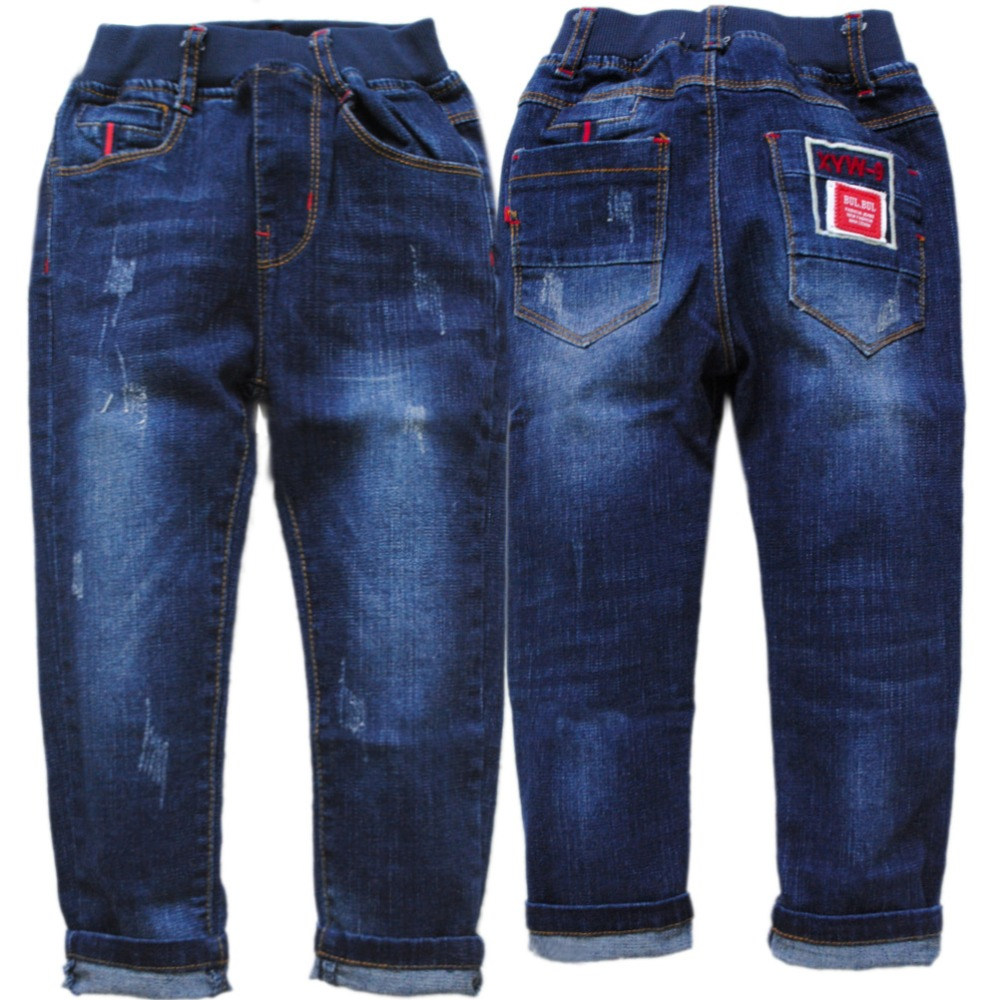 4064 barn jeans mjuka denim pojkar byxor pojke jeans marinblå våren höst barn byxor