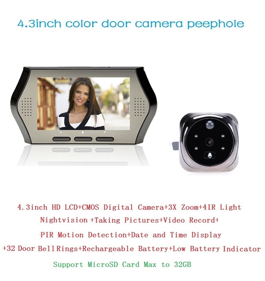New wireless door peephole camera PIR motion detection 4.3 inch LCD IR night vision 32 Rings 0.3 Megapixels video-eye Max 32GNew wireless door peephole camera PIR motion detection 4.3 inch LCD IR night vision 32 Rings 0.3 Megapixels video-eye Max 32G