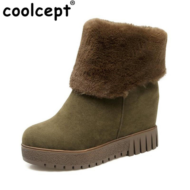 Coolcept Free Shipping Size 33-44 Women Wedges Mid Calf Snow Boots Women Plush Fur Winter Thick Platform Slip On Shoes Women