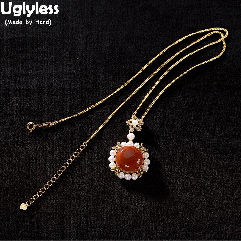 Uglyless marque Style nouvelles pierres précieuses colliers de tournesol pour les femmes perles naturelles pendentifs avec des chaînes 925 bijoux en Agate d'argent