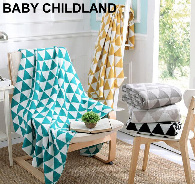 170*130cm Knitted Geometric Kids Blanket Cotton soft newborn Baby Swaddle blanket baby Photography Props sofa throw blanket