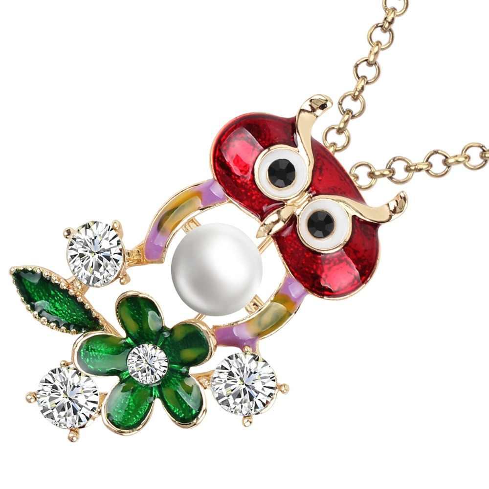 Bonsny metalowa emalia Rhinestone perła nowość sowa ptak naszyjnik kwiatowy wisiorek łańcuszkowy choker biżuteria dla kobiet dziewczyn panie nastolatki