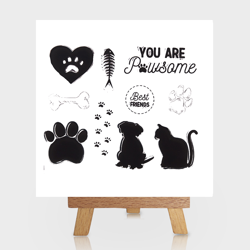 Dog with Cat Best Friend Clear Stamps Scrapbooking DIY Silicone Seals Photo Album Embossing Folder Paper Maker Template Crafts