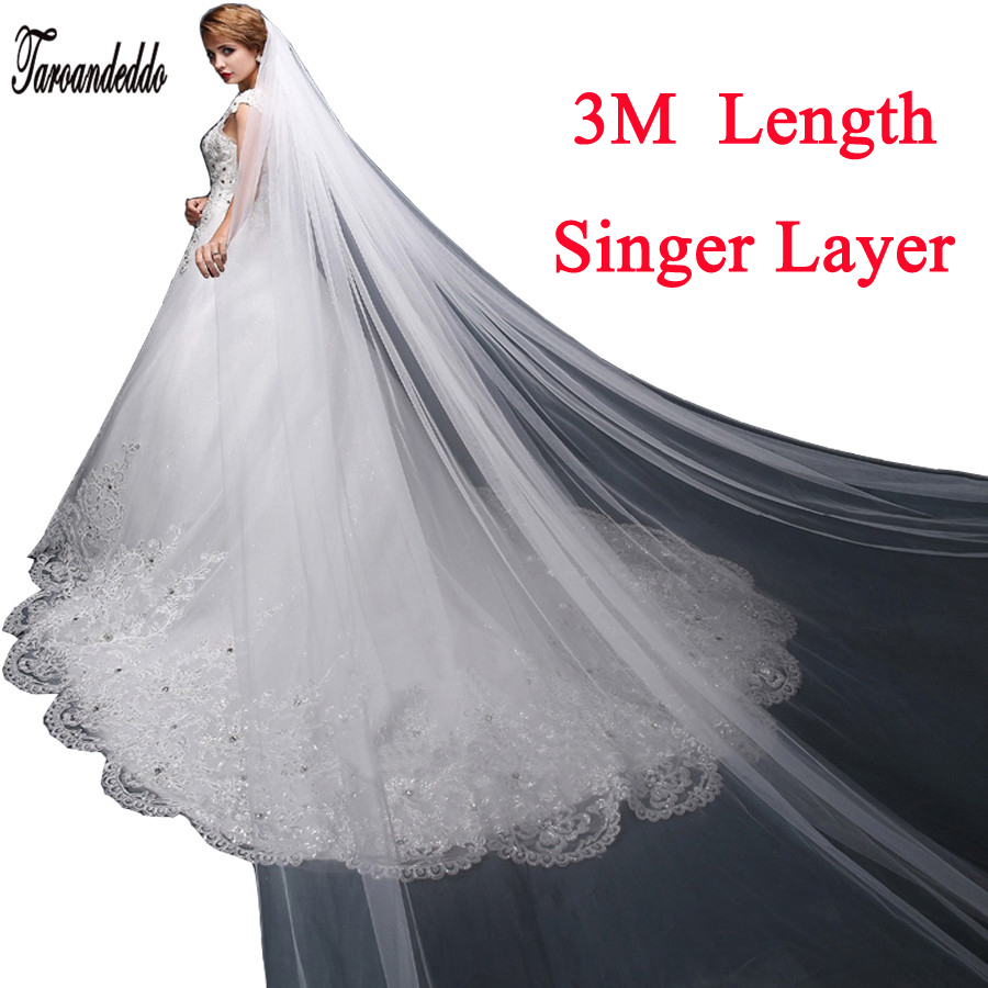 3M Elegant White/Ivory Single Layer Simple Veils Long Wedding Veil Bridal Accessories Free Shipping With Comb