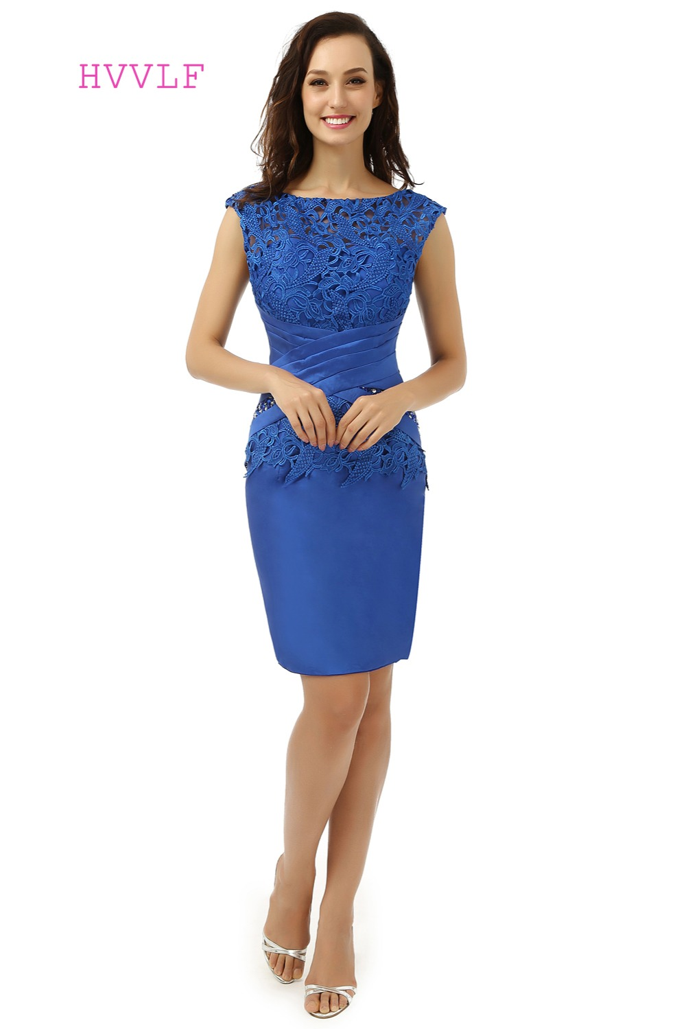 Royal Blue Plus Size 2019 Mother Of The Bride Dresses Sheath Knee Length Lace Wedding Party Dress Mother Dresses For Wedding