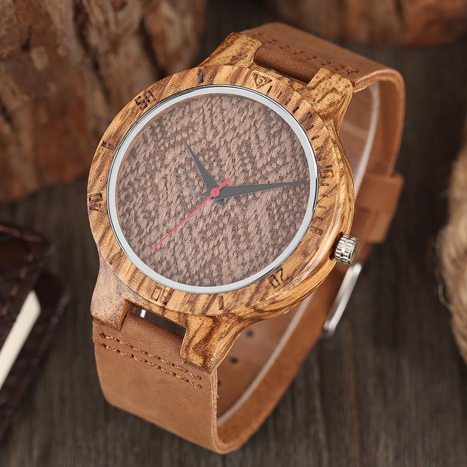 Unique Stripes Lines Dial Wooden Watch Mens Bamboo Creative Quartz Clock Genuine Leather Bangle Reloj de madera 2017 New Fashion  (43)