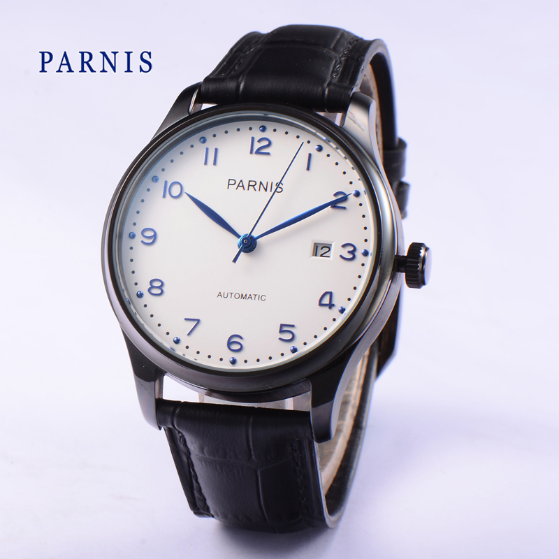 Hot Sale 43mm Men Watch Parnis SeaGull Automatic Watches Black PVD Case White Dial Blue Numbers Business Men's Wristwatch